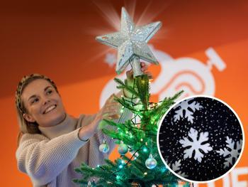 Spralla juletrestjerne med projektor