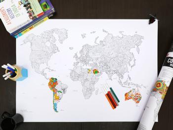 Verdenskart fargeleggingsposter med tusjer